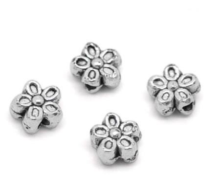10 stuks Donker Zilveren bloemetjes