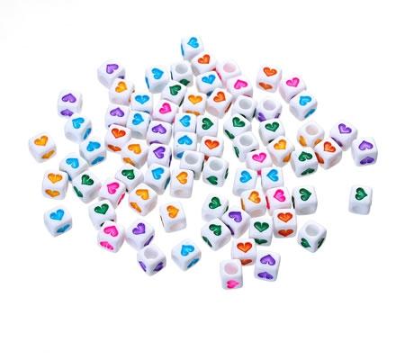 150 Stuks Mix acrylkraaltjes met hartje