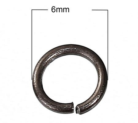 50 stuks open ring 6 mm Bruin