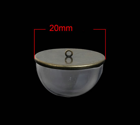Glazen Holle Cabochon 20 mm Brons