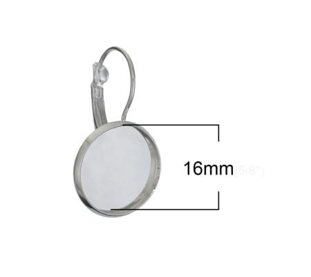 1 Paar Cabochon haakjes Licht Zilver 16mm