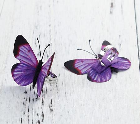 Ring met organza Vlinder Paars
