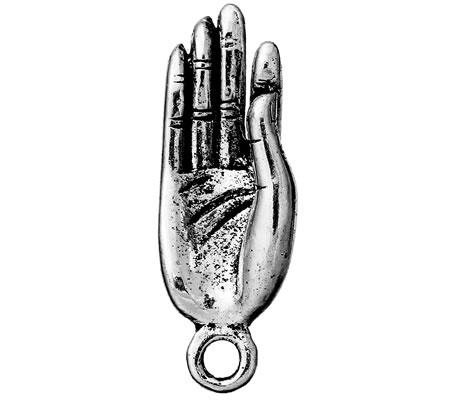 1x Bedeltje Hand Donker Zilver