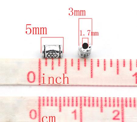 25x Kleine Cilinder kralen Donker Zilver