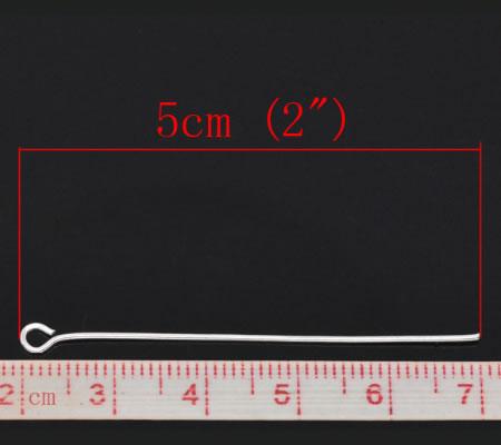 300x Lichtzilver kettelstiften 50 mm
