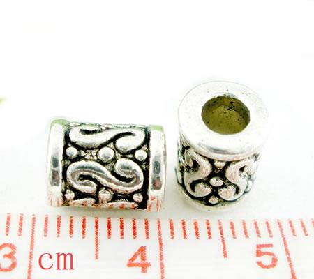 10x Cilinder kralen Donker Zilver
