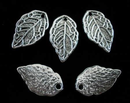 5x bedelblaadjes Donker zilver
