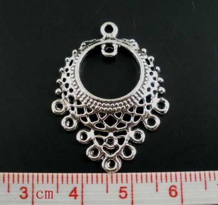 1x Ornament Opengewerkt Donker zilver