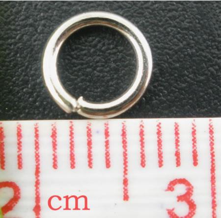 50 stuks Open ring donker zilver 6 mm