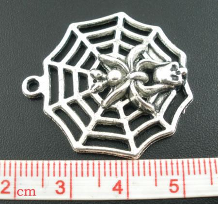 1x Bedel Spinnenweb Donker Zilver