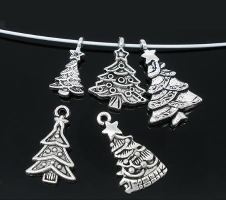 5x Kerstboom Bedeltjes Donker Zilver