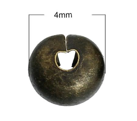 10 Afdekkralen voor knijpkraaltjes Brons