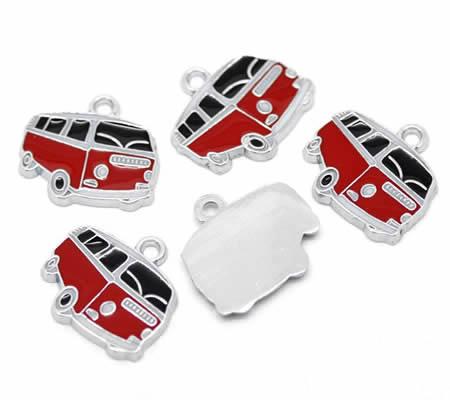 1x Bedeltje Auto Rood VW Busje