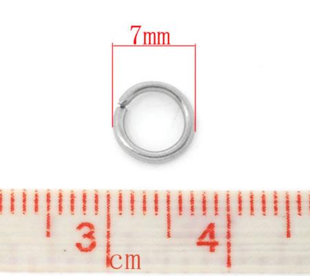 100 stuks Open ring Donker Zilver 7 mm