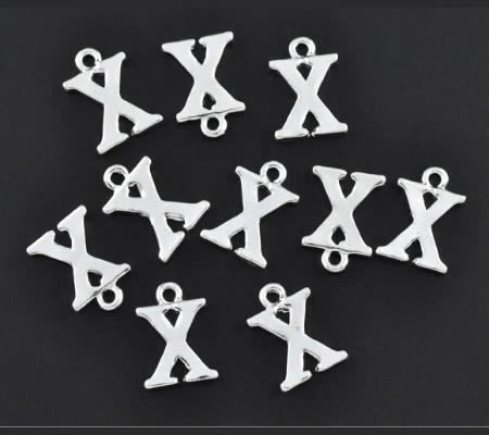 "1x Bedel lichtzilver - letter ""X"""