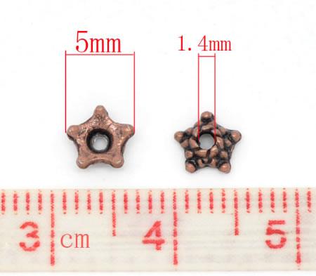 50x Rood Koper kralenkapjes stervormig
