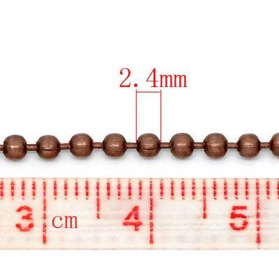 Ballchain ketting Roodkoper 2.4 mm