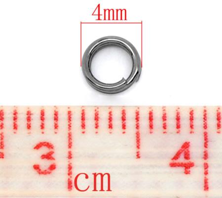 100x Splitring Donker grijs / Antraciet 4 mm
