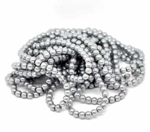 Snoertje Glasparel 8 mm Zilver Grijs