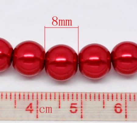 Snoertje Glasparel 8 mm Rood