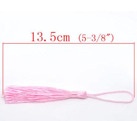 1x Kwastje Roze 14 cm