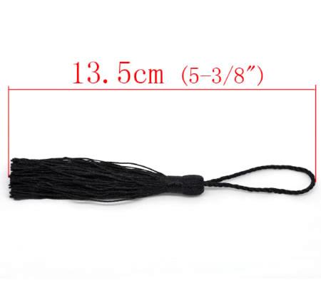 1x Kwastje Zwart 14 cm