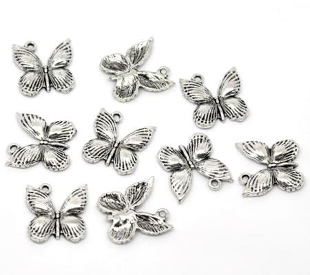 1x Bedel Vlinder Donker Zilver