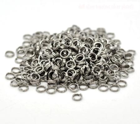 50x Splitring Donker zilver 5 mm