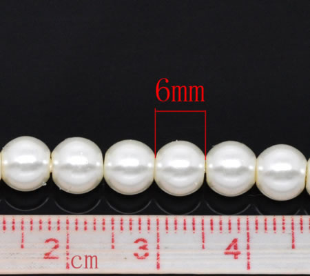 Snoertje Glasparel 6 mm Gebroken Wit