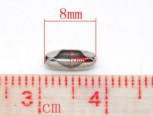 5x ballchain connectors donker zilver