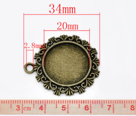 1x Cabochon Hanger Donker Zilver Rond