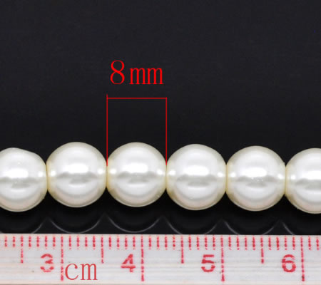 Snoertje Glasparel 8 mm Gebroken Wit