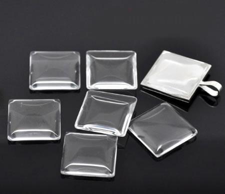 1x glazen cabochon 25 mm vierkant