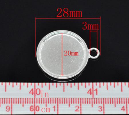 1x Cabochon hanger 20 mm Licht Zilver