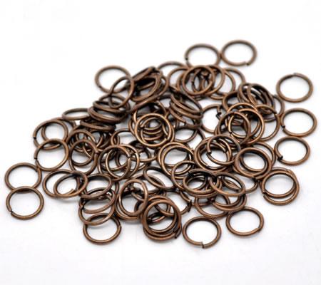 25 stuks open ring Roodkoper 8 mm