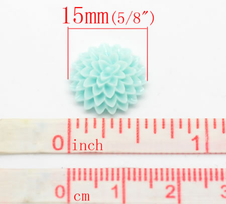 Cabochon Chrysant Licht Turquoise