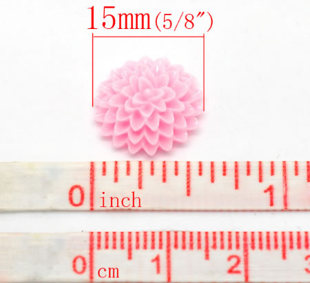 Cabochon chrysant Roze