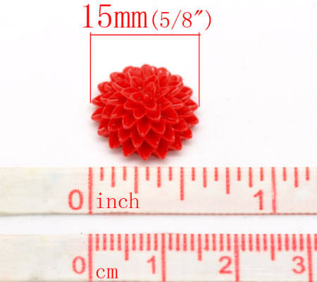 Cabochon chrysant rood