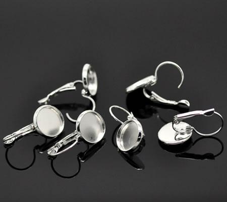 1 Paar Licht zilver Cabochon Oorbelhaakjes 12 mm