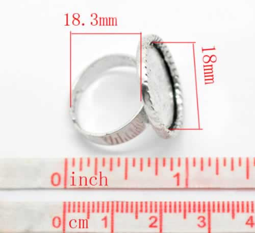 1x Donker zilveren cabochon ring