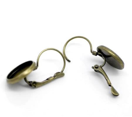 1 Paar Cabochon oorbelhaakjes Brons 12 mm