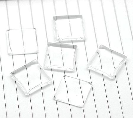 1x Glazen cabochon 20 mm vierkant