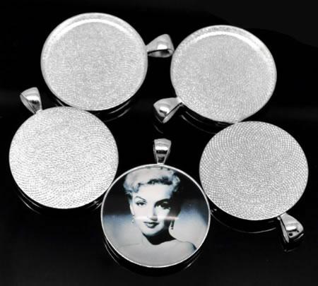 Cabochonhanger Licht Zilver 30mm