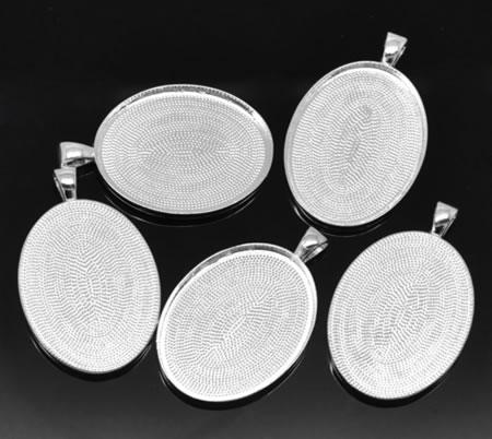Cabochonhanger Licht Zilver 30 x 40 mm Ovaal