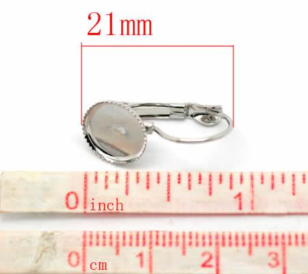 1 Paar oorbelhaakjes cabochon plakvlak donker zilver