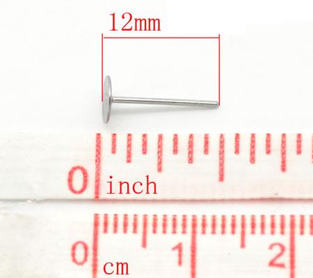 5 paar Oorbel stekertjes met plakvlak RVS (304)
