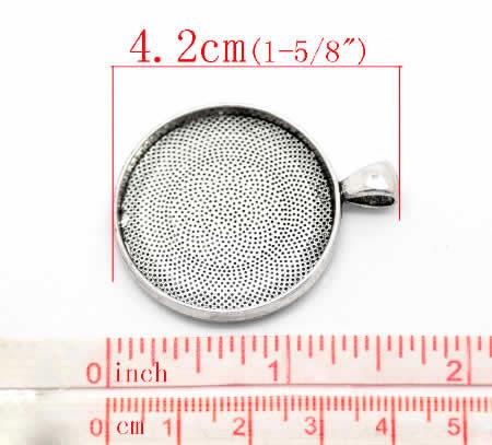 Cabochonhanger 25 mm DonkerZilver