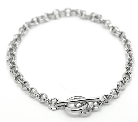 1x Armbandje donker zilver 22 cm