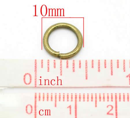 50 stuks Open Ring 10 mm brons