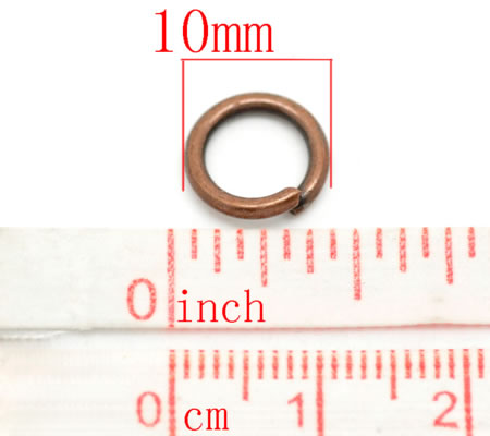 10x Open ring Roodkoper 10 mm